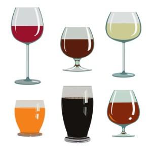 set of drinks in glasses