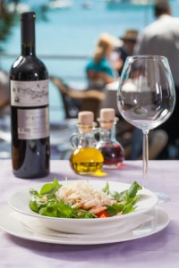 Seafood with a view and wine