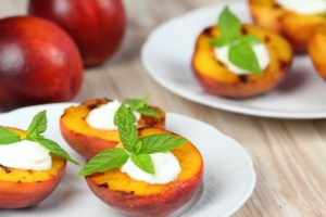 Grilled peaches, mascarpone & mint  leaves