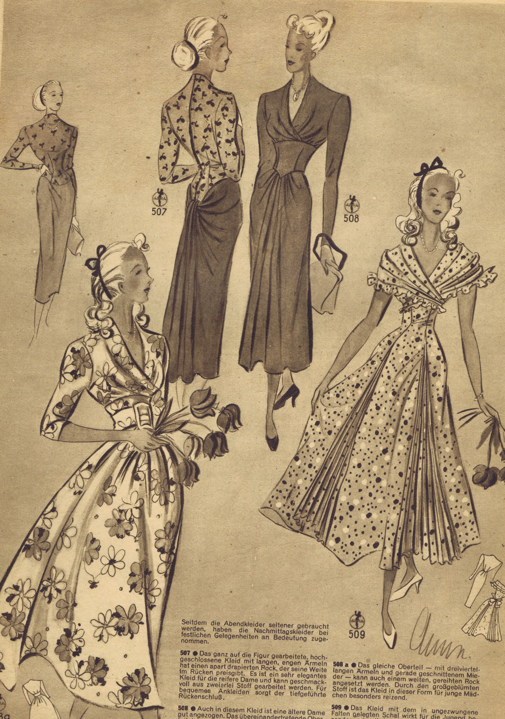 Free vintage 1940s sewing patterns german die alma mode - Retro vintage ...