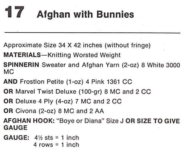 bunny afghan knitting pattern vintage 60s