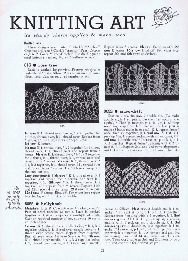 knitted edge patterns