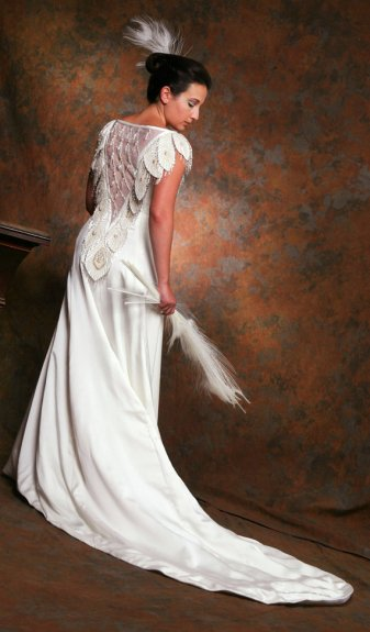 SPECIAL INTRODUCTORY SALE White Peacock Gown, Backless Wedding Dress or Evening Gown by MaryGwyneth Fine Wearable Art