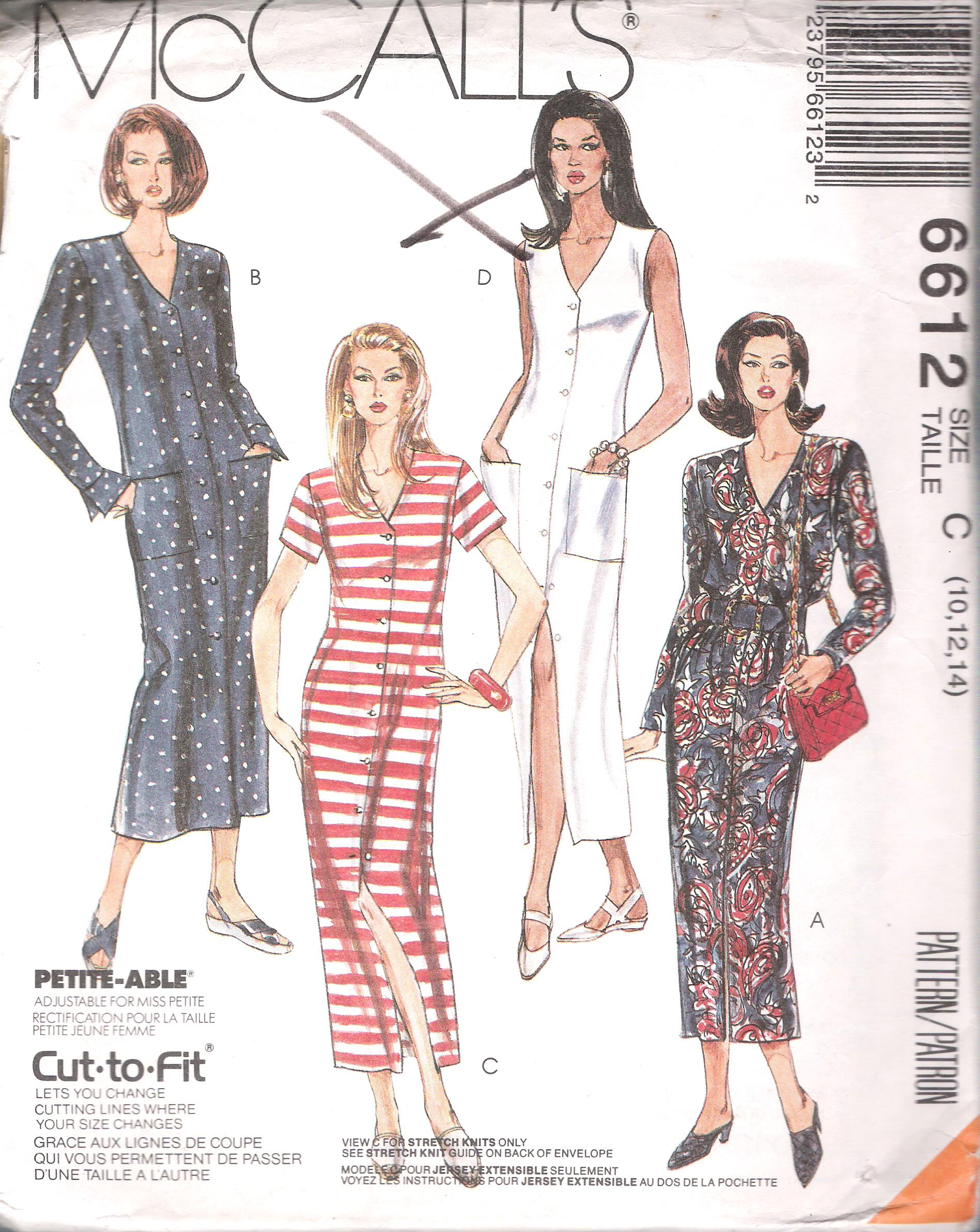 6612 McCall's Dress Button Front Sewing Pattern Bust 32.5-36 Inches