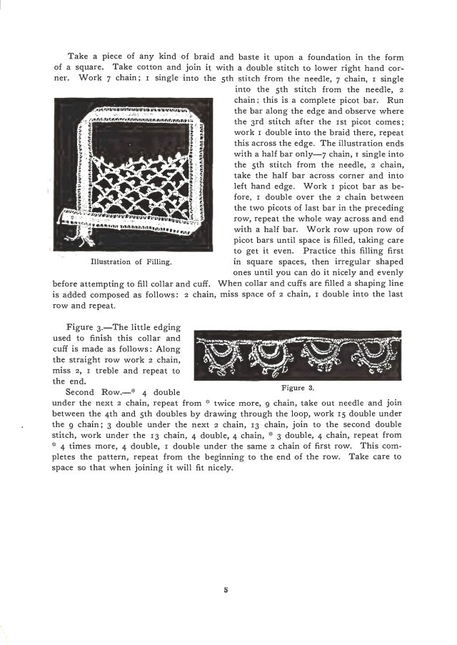 Lace filling Irish crochet edging