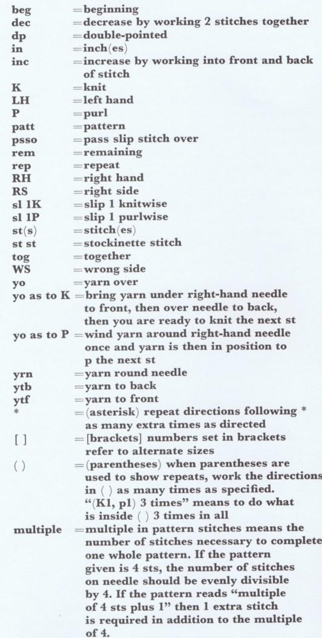 vintage knitting abbreviations