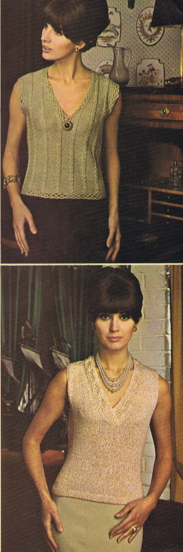 Mock Cabled Shell (2) | Cabled-V Shell (3)-Best Free Vintage Knitting Crochet Patterns 1967