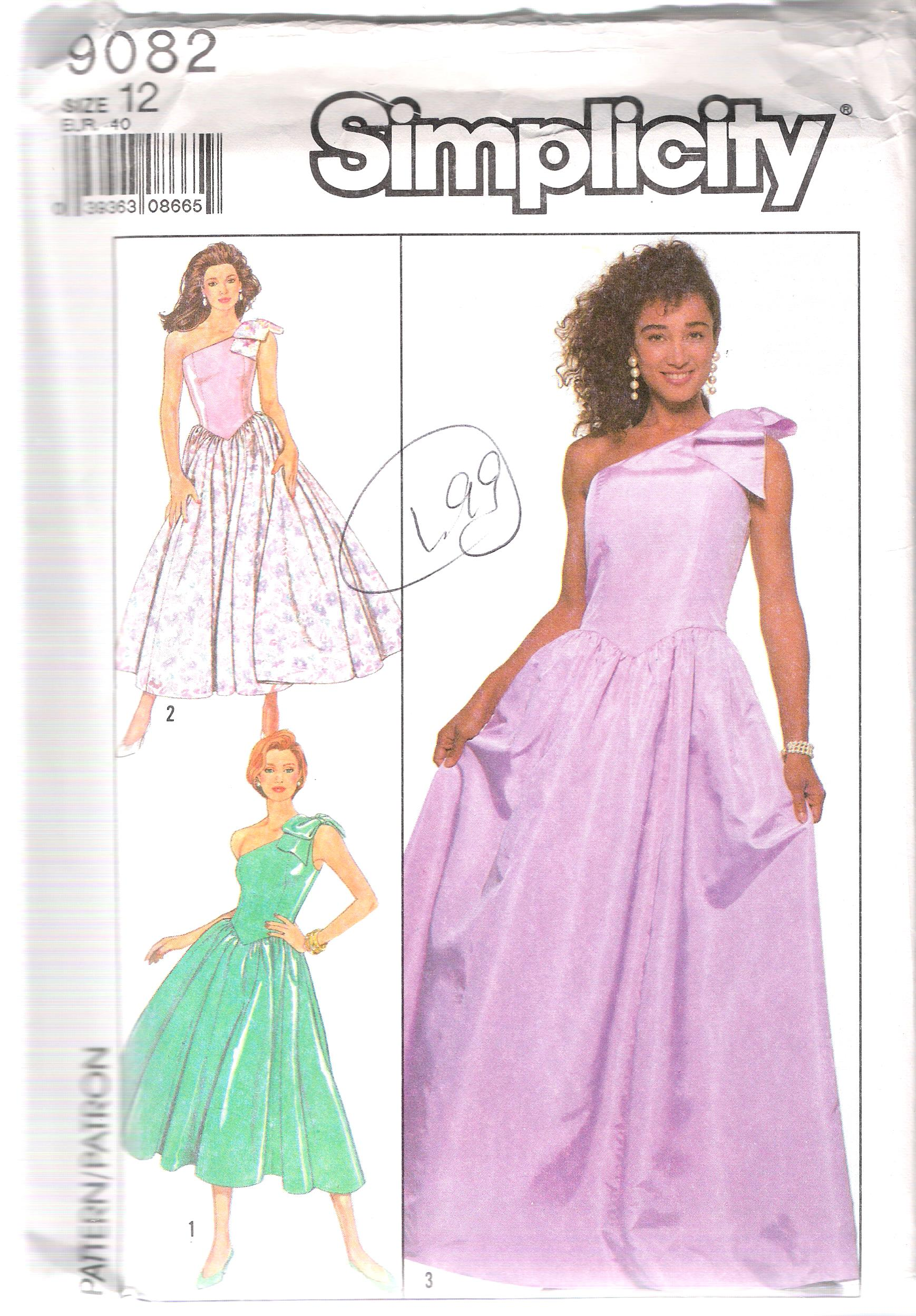 9082 Simplicity SEWING PATTERN Evening Party DRESS SIZE 12