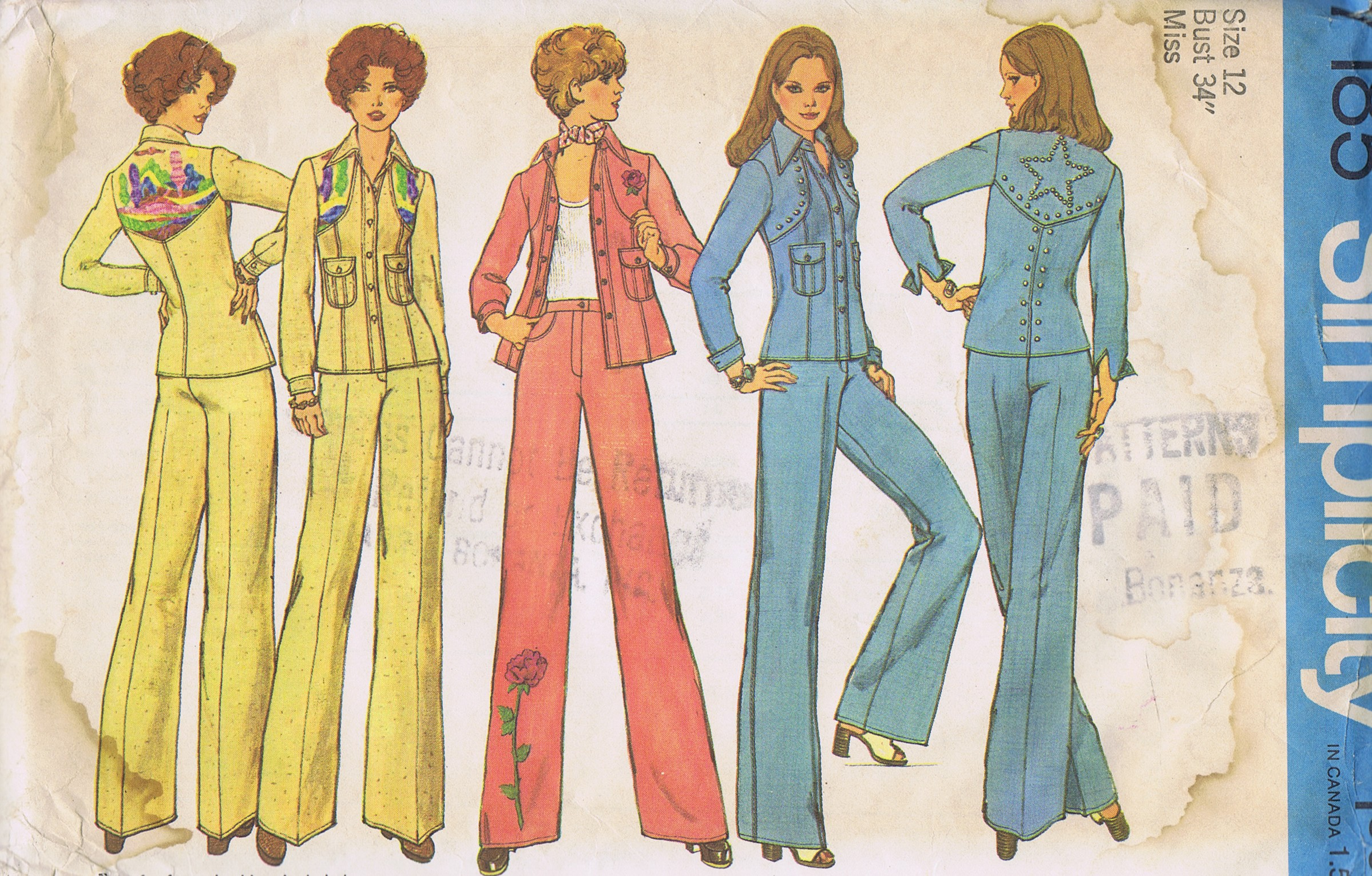 7185 Simplicity Sewing Pattern 1970s Pantsuit Size 12 Bust 34 Hip 36 Inches Uncut