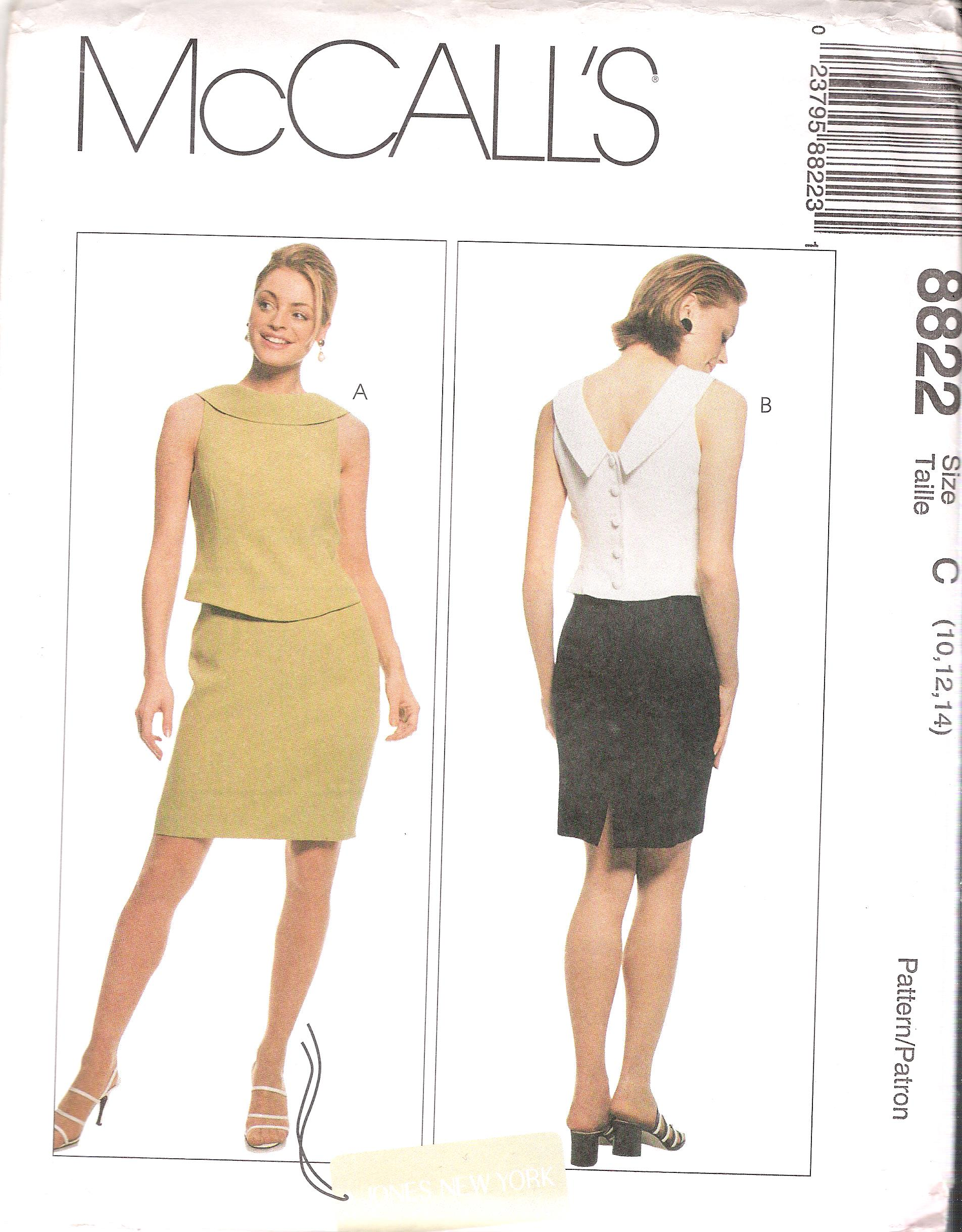 "McCalls 8822 Mock Two Piece Dress Sewing Pattern Size 10-14 Uncut SIZE 10-14 BUST 32.5-36 WAIST 25-28 HIP 34.5-38"" Designer Jones of New York created a fabulous mock two piece classic dress design shown here in sizes 10-14, the pattern is uncut and ready to sew."