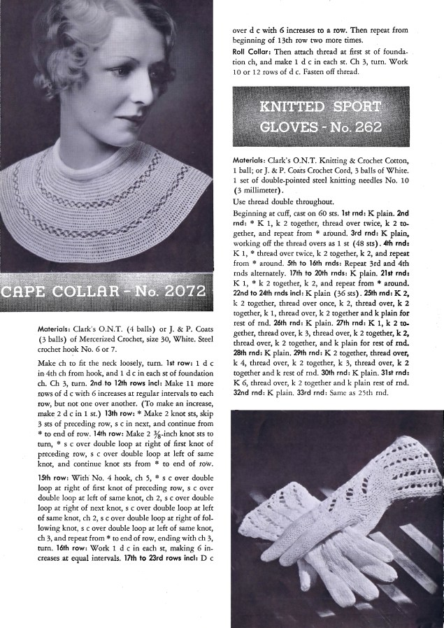 Knitted Gloves Cape Collar Selected Designs for Crochet