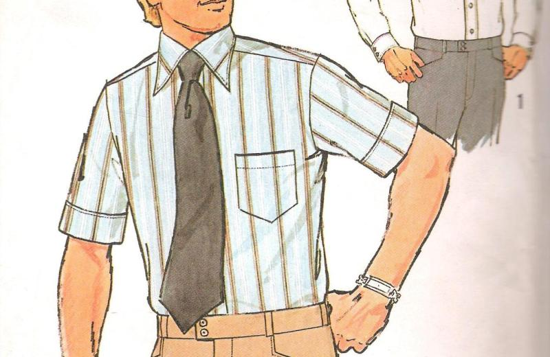 Vintage 7942 Simplicity Sewing Pattern features two Men's Shirts with top-stitching with left front band button closing has shirt collar, yoke, and set-in sleeves.