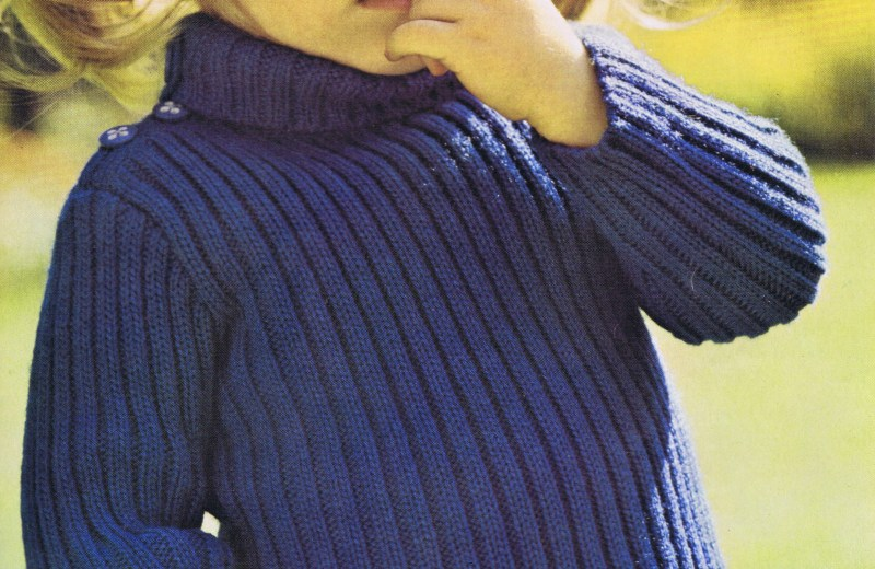 Free Knitting Pattern Turtleneck Sweater Children Girls Boys