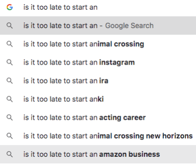 "Google search results showing ""is it too late to start an Amazon business"" as a popular search. Selling on Amazon 2021."