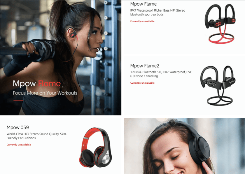While Mpow's storefront is still viewable, many products are unavailable to be purchased from the brand.