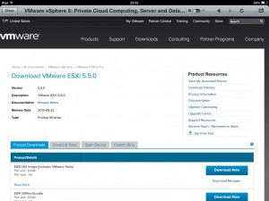 vSphere 5.5 Download page