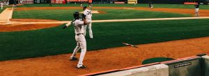 baseball playing dirring a homerun