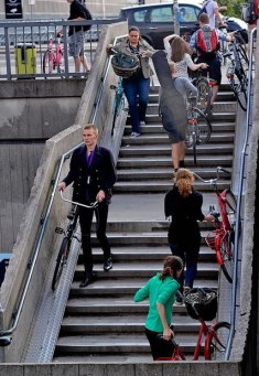 Even the stairs have bike paths!