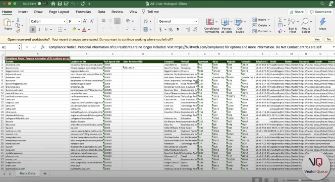 Using BuiltWith to Build a List of Your Competitor's Clients - Excel export from BuiltWith
