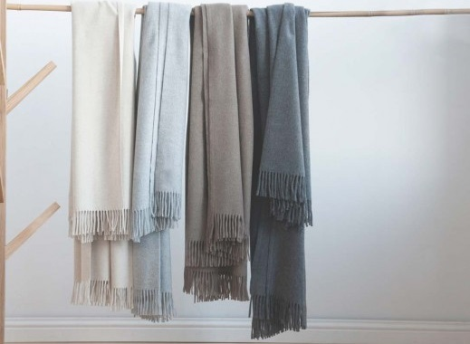 100% cashmere is used for these plaids, they are not dyed, preserving the natural softness of this wool. The color comes from the goats themselves - via Yumeko