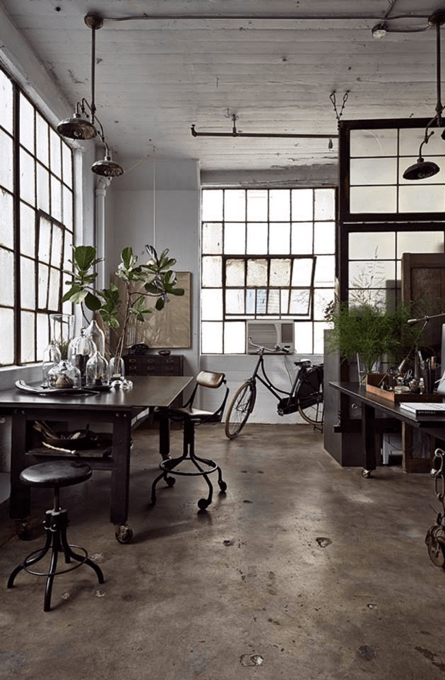 Great space in a Brooklyn NY loft, the workspace of artist Alina Preciado, I spy a typical Dutch bycicle - via 79 Ideas