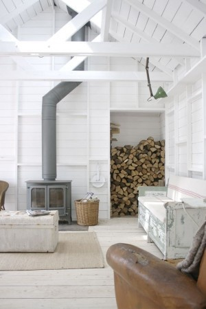 Grey woodstove and white walls - via DIY Design Fanatic