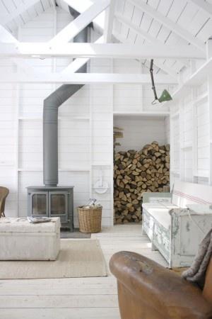 Grey woodstove and white walls - via DIY Design Fanatic