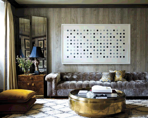 I'm loving the textures in this design by Laura Day, marbled walls, bronze coffeetable, rich velvet sofa and huge pillows, the Beni Ourian carpet, walnut wood sidetable and the Damien Hirst on the wall - via She Said
