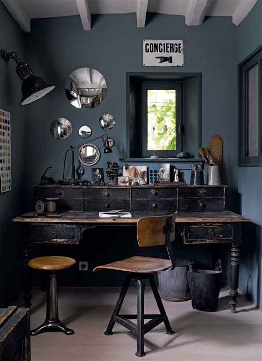 Smokey blue walls - via SF Girl By Bay
