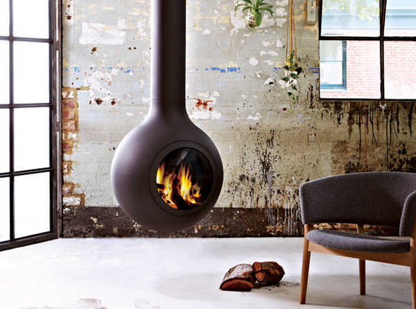 Suspended rounded woodstove, designed by Australian company Oblica