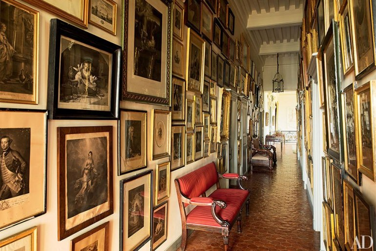 And now something completely different - this Gallery Wall in French Chateau de Digoine - owned by French collector and TV producer Jean-Louis Remilleux - via AD