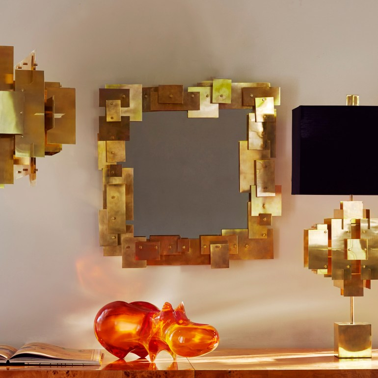 The Puzzle suspension and table lamp, here with the funny Lucite Hippo Sculpture