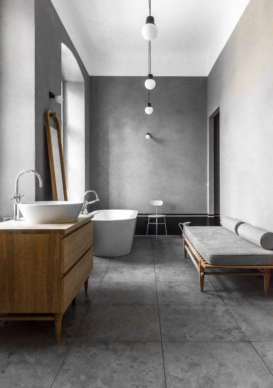 A very minimal concrete bathroom in a Berlin home - via Coco Lapine