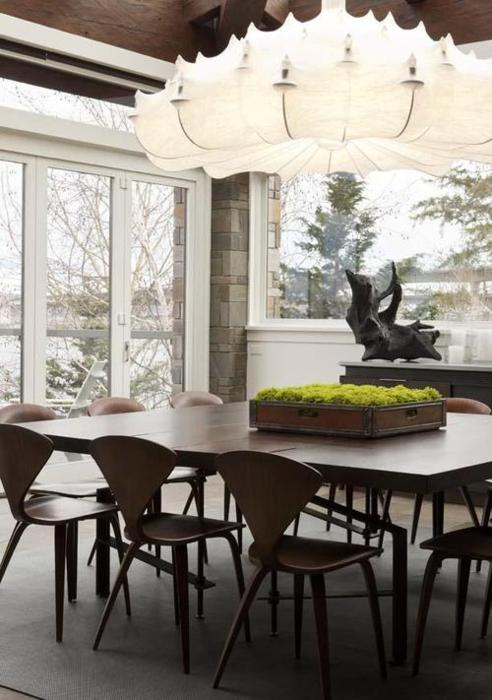 cherner dining chairs paired with the eyecatching zeppelin pendant light by flos u2013 via tumblr