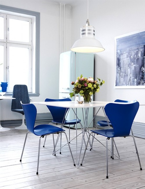 Classic blue Ant Chairs - via French Madame