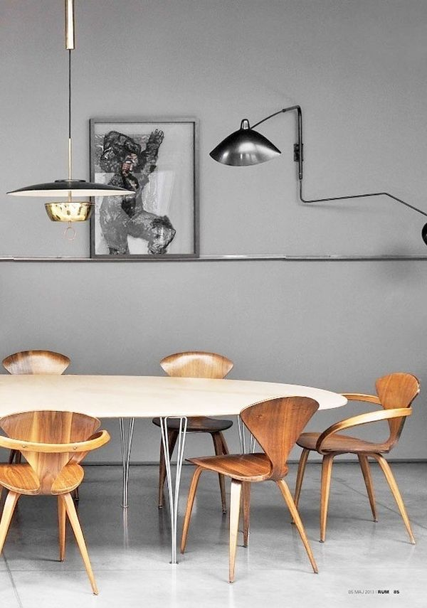 Design Icons Galore, The Cherner Chairs, The Serge Mouille Light Fixture.  Anyone Knows The Designers Of The Table And Pendant Lamp? U2013 Via I Am The Lab