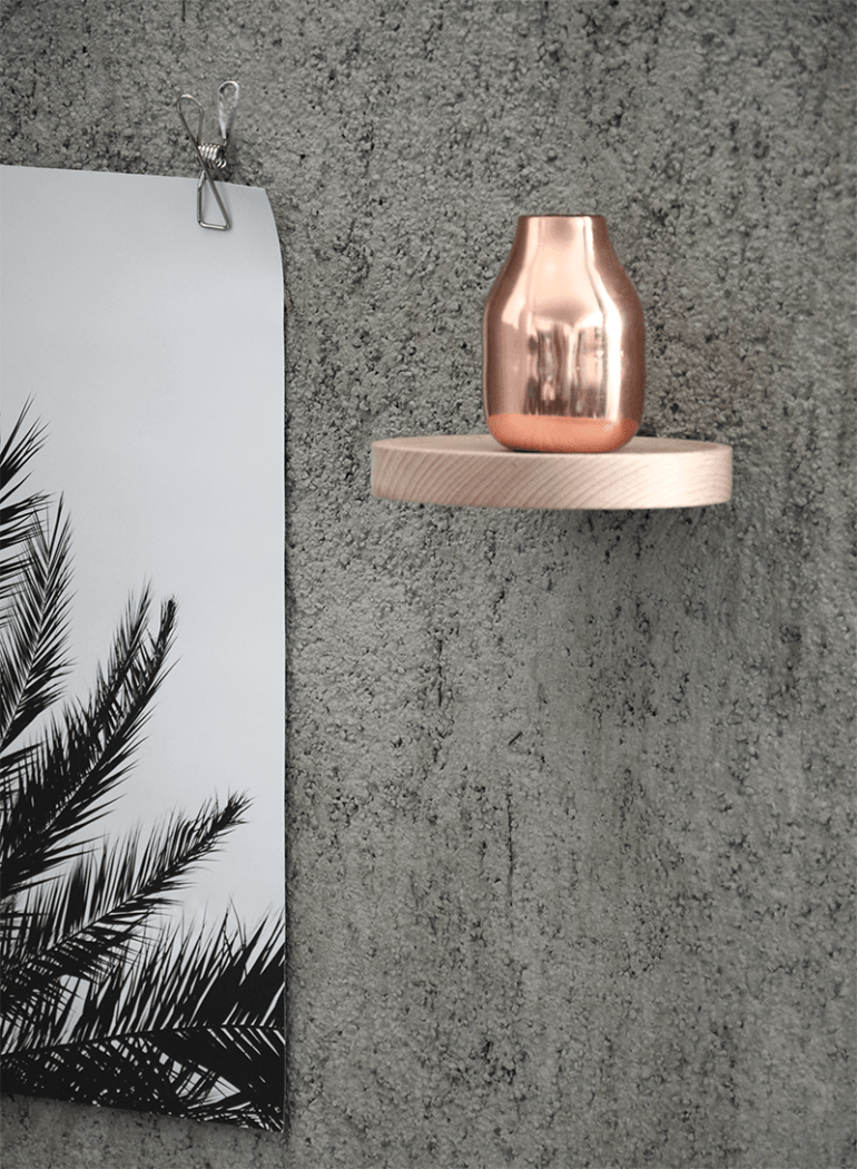 Shiny brass contrasted with rough concrete, detail of the Palm Series by Coco Lapine visible - via Coco Lapine