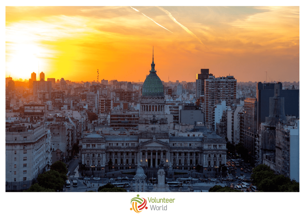 Sunset view of Buenos Aires in Argentina