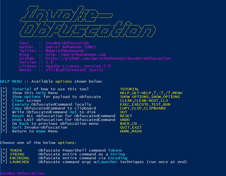 Obfuscating PowerShell Commands using Invoke-Obfuscation