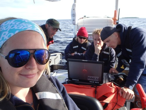 Side scan sonar - serious business! (Photo: Metsähallitus / Suvi Saarnio)
