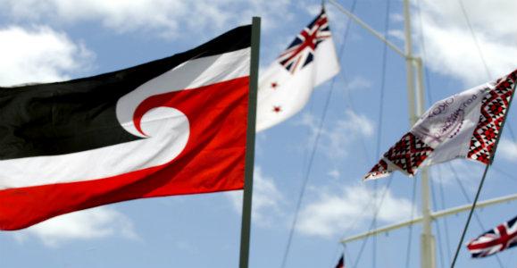 flags on Waitangi Day