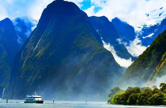 Cruising through the impressive fjords in New Zealand