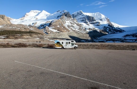 Campervan Parked Near Glacier
