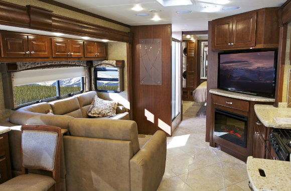 Interior of self-contained campervan
