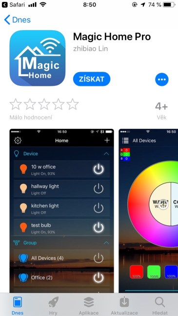 iOS verze Magic Home Pro v App Store
