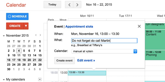 Google calendar: show me as available - Vyte - Scheduling