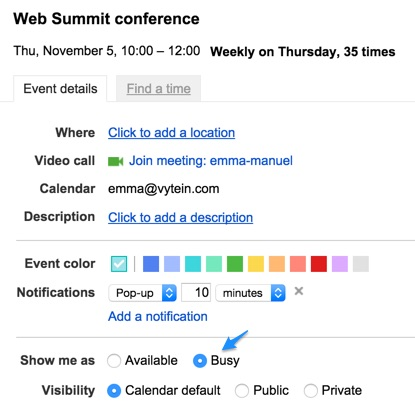 Google Calendar Show Me As Available Vyte Scheduling Made Easy