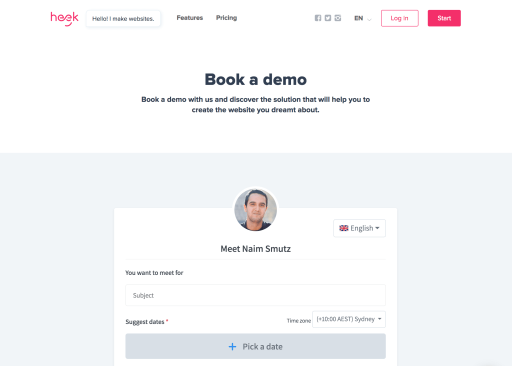 Book a demo example Vyte