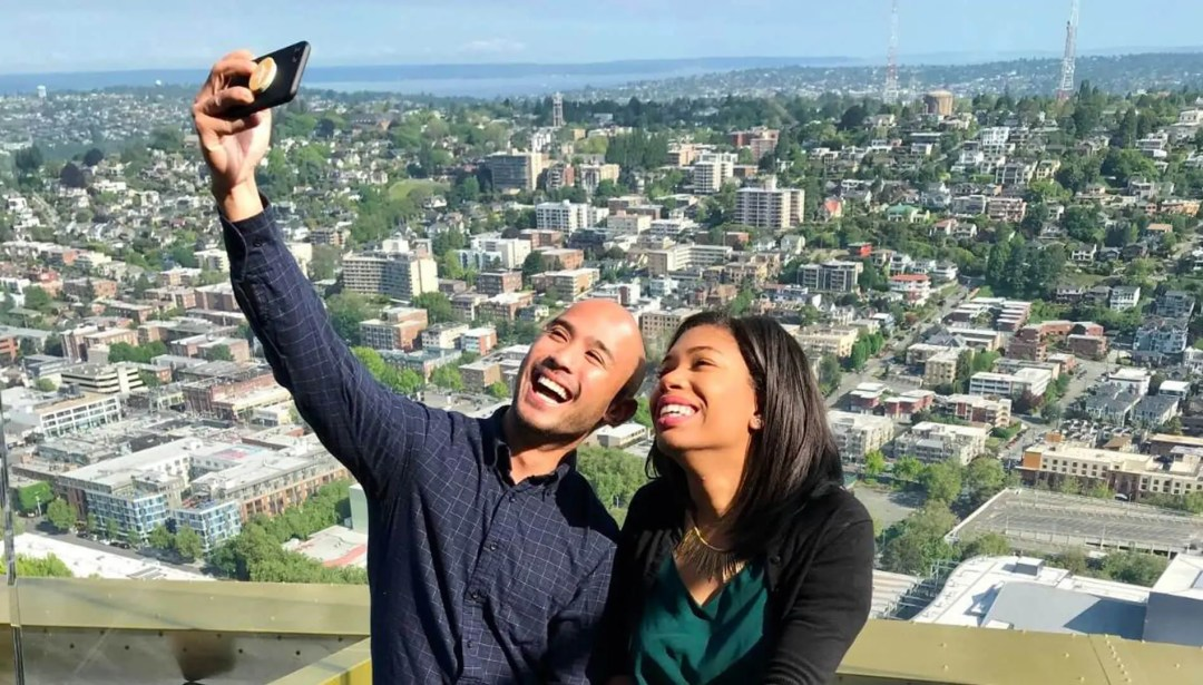 Couple taking a selfie at the Space Needle