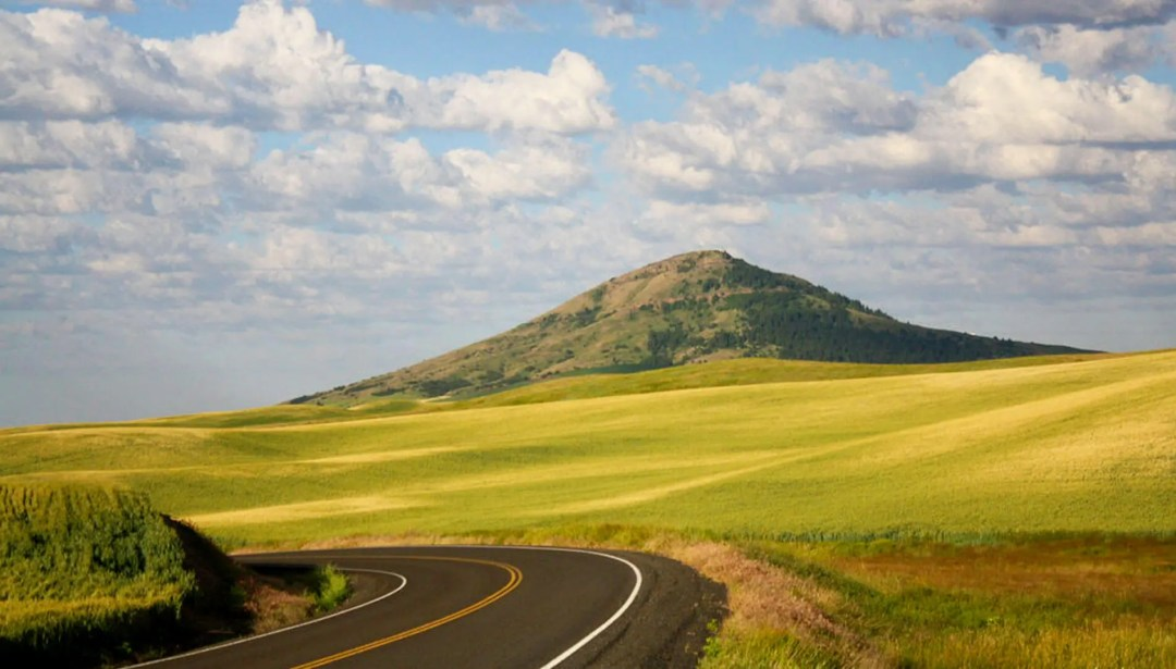 road and view of Steptoe Butte
